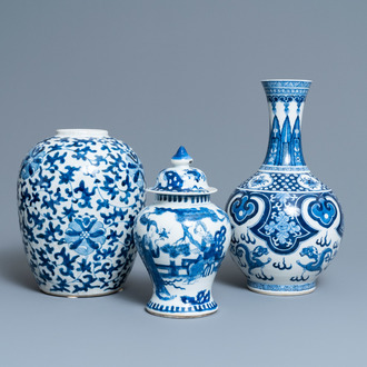Three Chinese blue and white vases, 19th C.