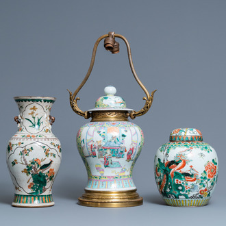 Two Chinese famille verte vases and a lamp-mounted famille rose vase, 19th C.