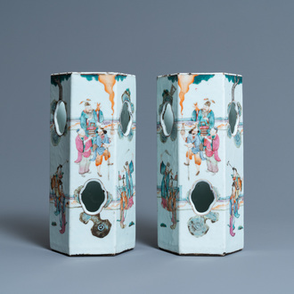 A pair of reticulated Chinese famille rose hat stands, 19th C.