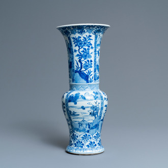 A Chinese blue and white 'yenyen' vase with landscapes and floral panels, Kangxi