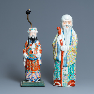 Two Chinese famille rose 'Star God' figures, seal marks, 19/20th C.