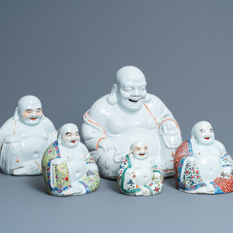 Five Chinese famille rose and white figures of Buddha, seal marks, 19/20th C.