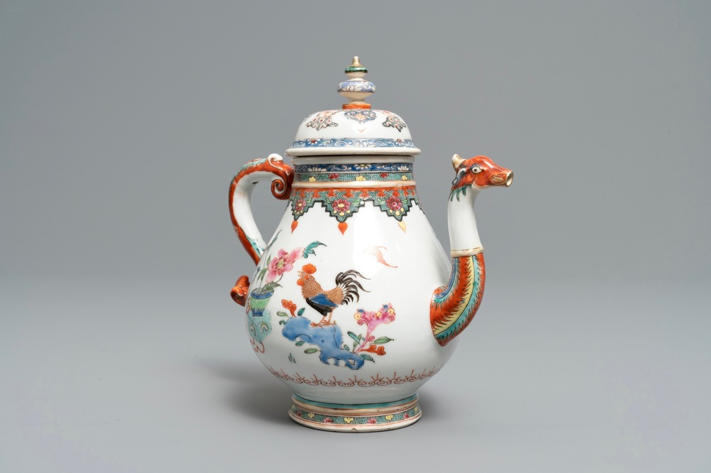 A Chinese famille rose teapot with phoenix-shaped spout, Qianlong