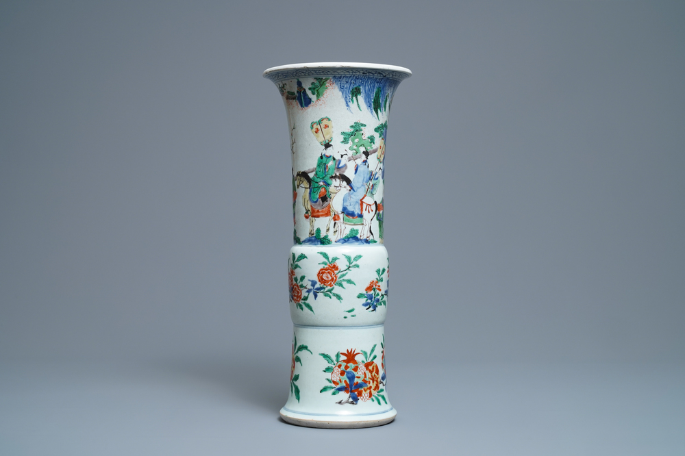 A Chinese wucai gu vase with figures and horses, Shunzhi