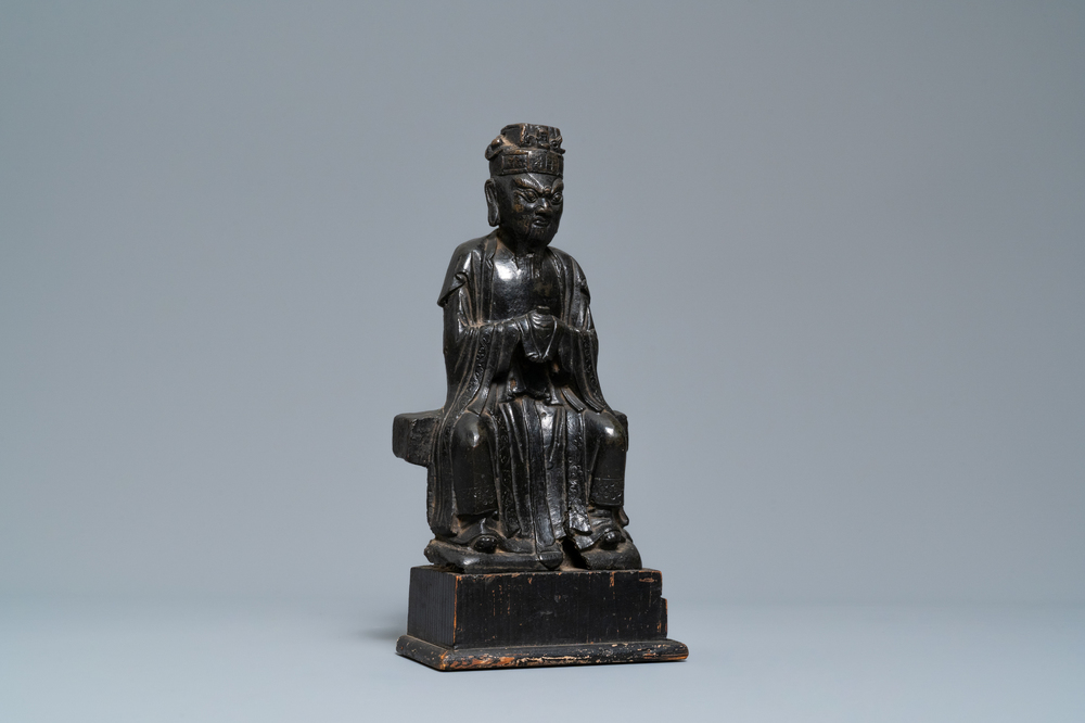 A Chinese bronze figure of Wenchang Wang with inscription, Ming