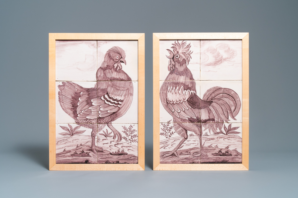A pair of fine Dutch Delft manganese tile murals with a hen and a rooster, 18th C.