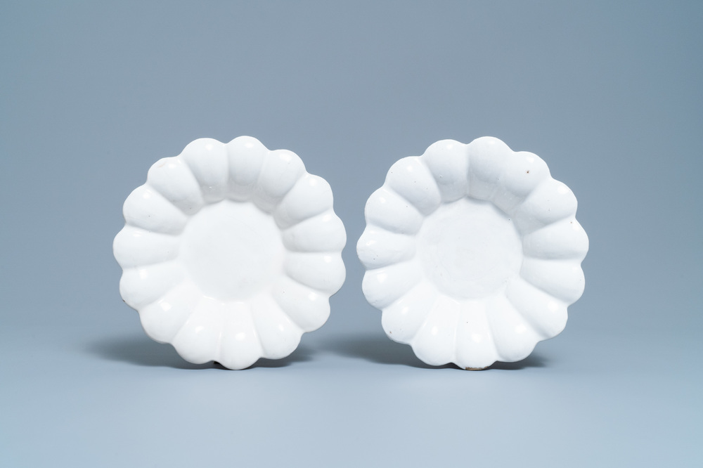 A pair of white Dutch Delftware gadrooned dishes, 17th C.