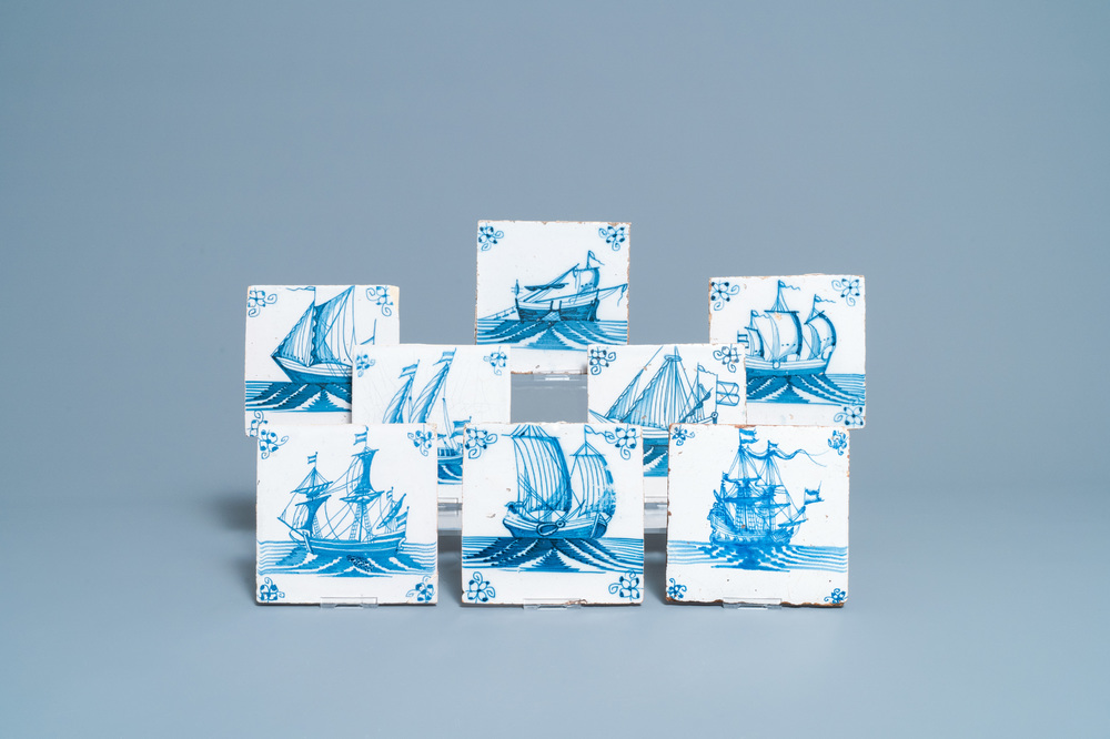 Eight Dutch Delft blue and white tiles with ships, 18th C.