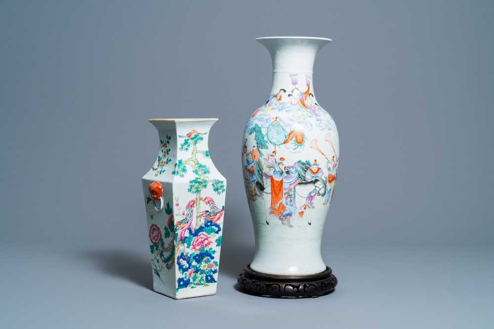 Two Chinese famille rose vases, 19/20th C.