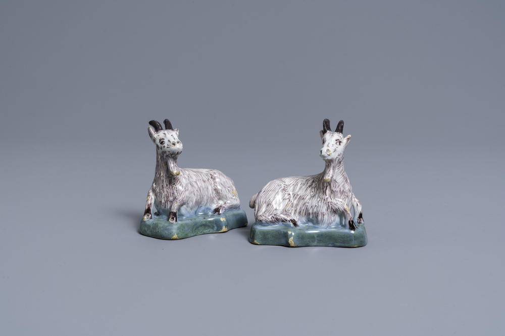 A pair of polychrome Dutch Delft models of goats, 18th C.