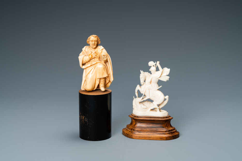 Two ivory figures: a kneeling Saint Joseph, Spain, 17th C. and Saint George with the dragon, 19/20th C.
