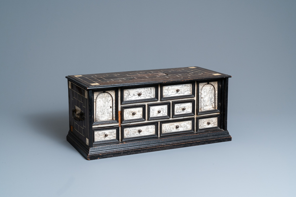 An ebony veneer cabinet with engraved ivory plaques, Italy, 17th C.