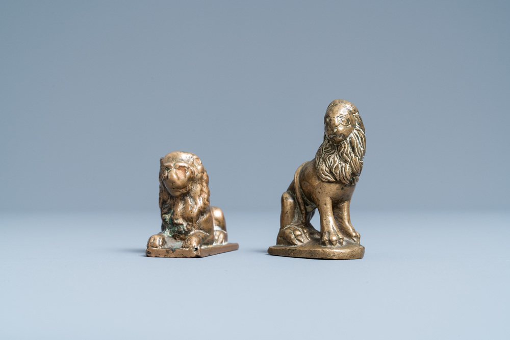 Two small bronze models of lions, 16th C.