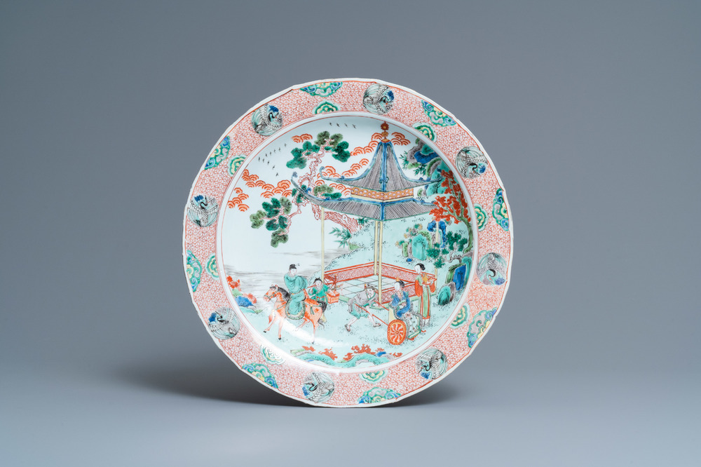 A Chinese famille verte dish with figures in a landscape, Kangxi