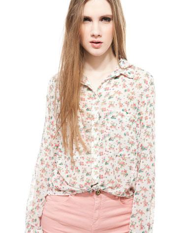 camisa flores bershka