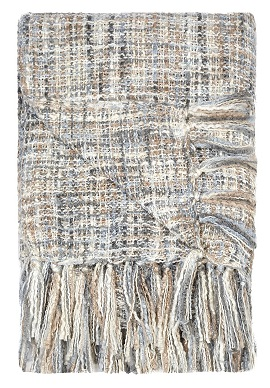 Plaid acrylic knitted look, 150x220cm, bleutaupe 1