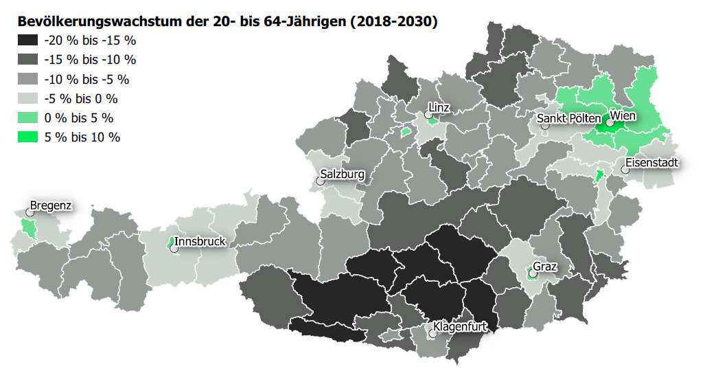 Bevölkerungswachstum der 20 - 64-Jährigen