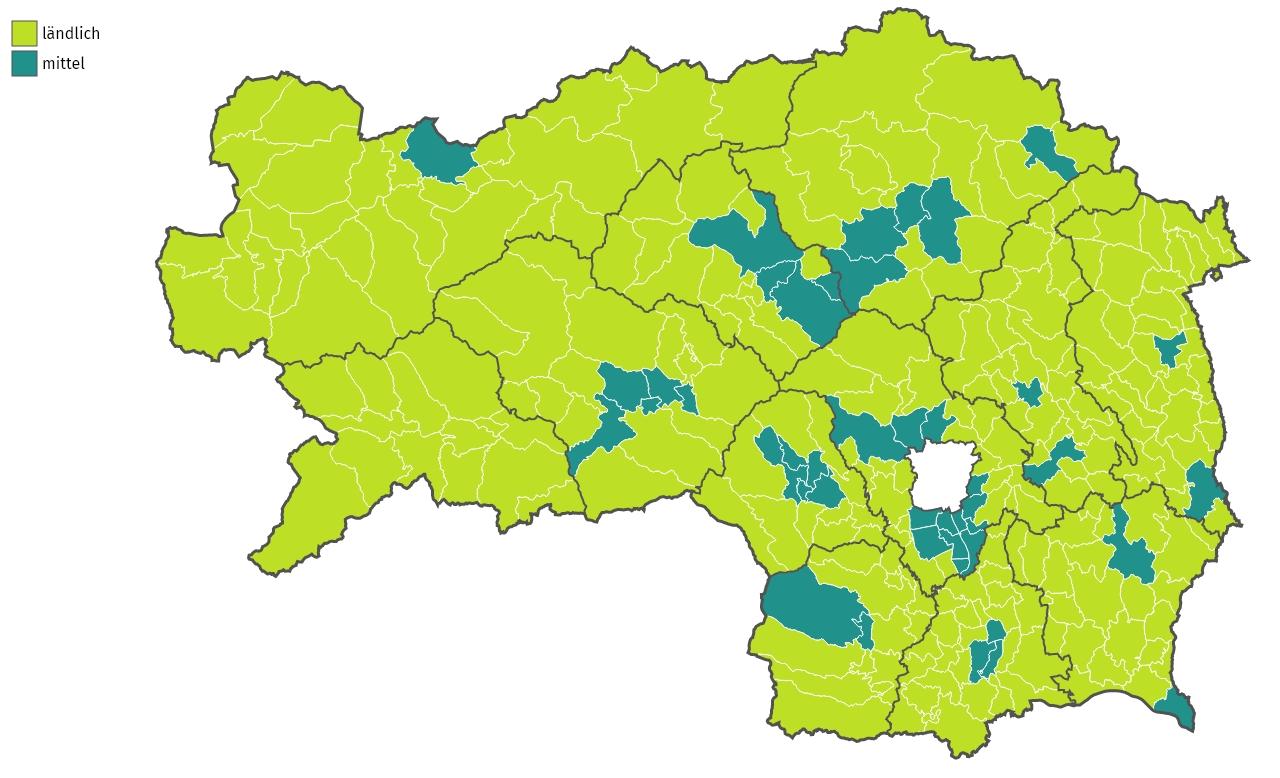 Steirische Gemeinden nach Urbanisierungsgrad