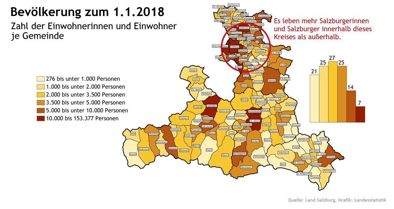 Landkarte der Salzburger Gemeinden
