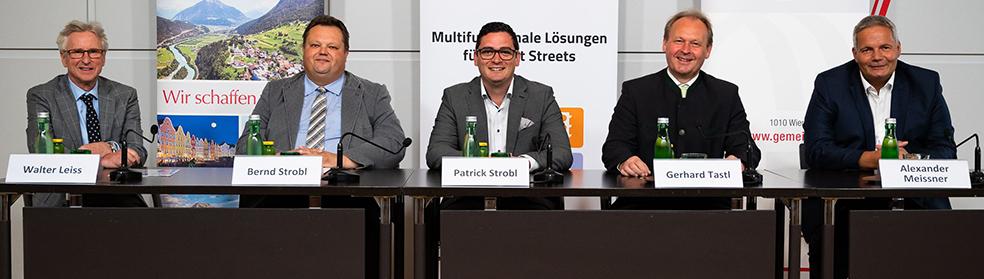 Gemeindebund-Generalsekretär Walter Leiss, die Bürgermeister Bernd Strobl (Ollersdorf), Patrick Strobl (Melk) und Gerhard Tastl sowie Alexander Meissner vom Verein SSGM.