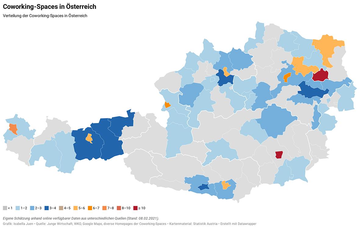 Verteilung Coworking-Spaces in Österreich