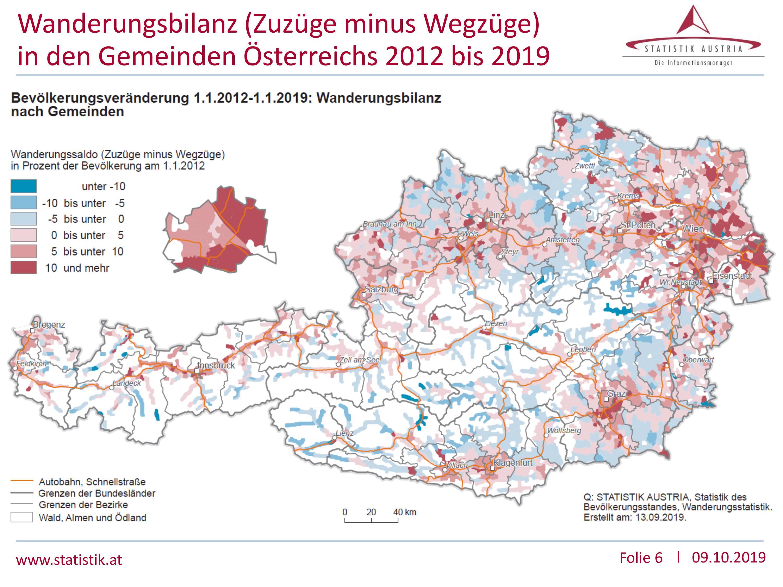 Wanderungsbilanz von 2012 bis 2019