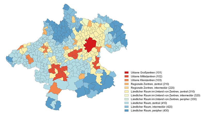 Gemeinden nach Urban-Rural-Typologie der Statistik Austria