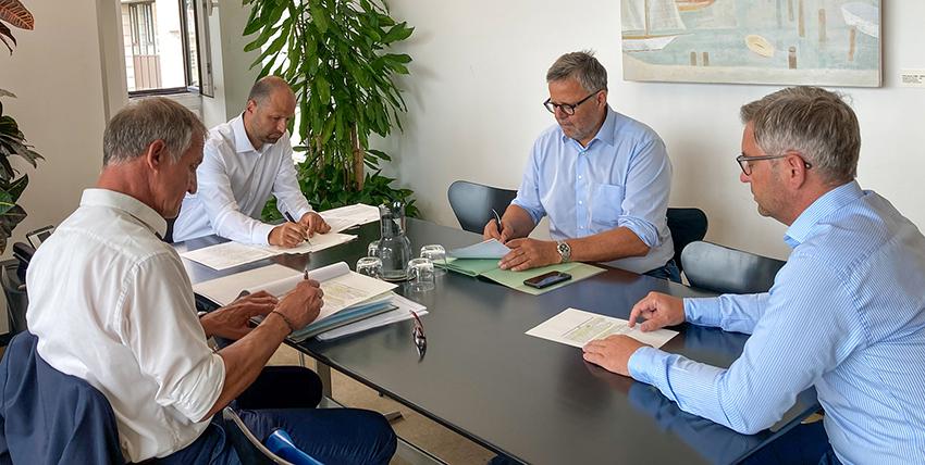Staatssekretär Magnus Brunner, Landesrat Marco Tittler und Bürgermeister Markus Linhart