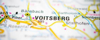 Landkarte mit den beiden Städten