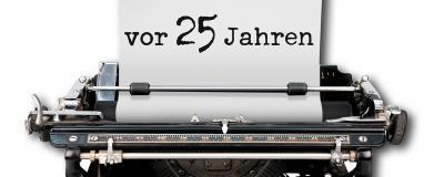 Schreibmaschine mit 25 Jahren als Schrift
