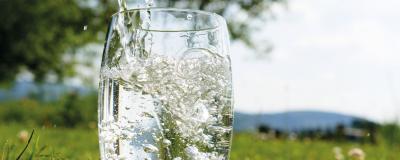 Wasserglas auf einer Wiese