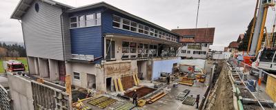 Bauarbeiten für das neue Feuerwehrhaus in Langen.