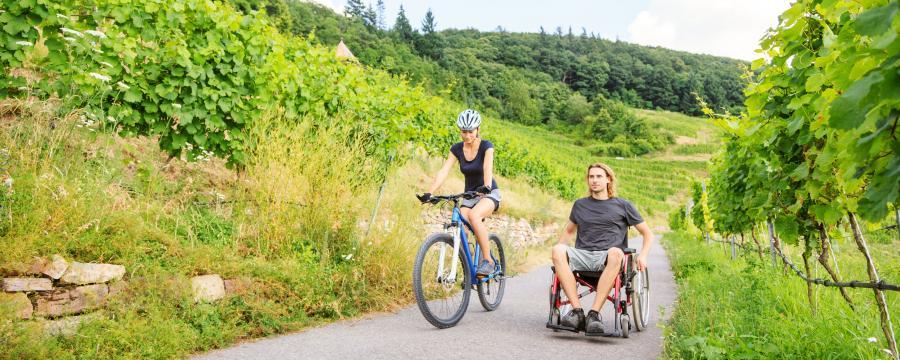 Radfahrerin und Rollstuhlfahrer