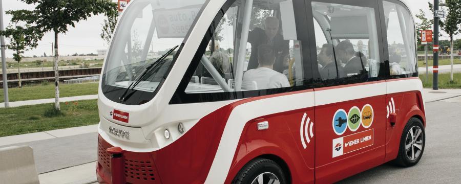 fahrerloser Elektrobus in Aspern