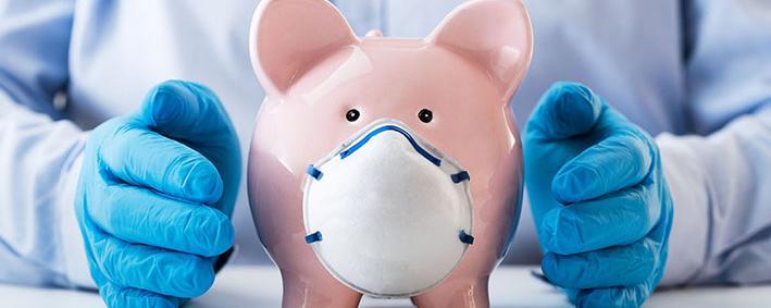 Sparschwein mit Mund-Nasen-Schutz