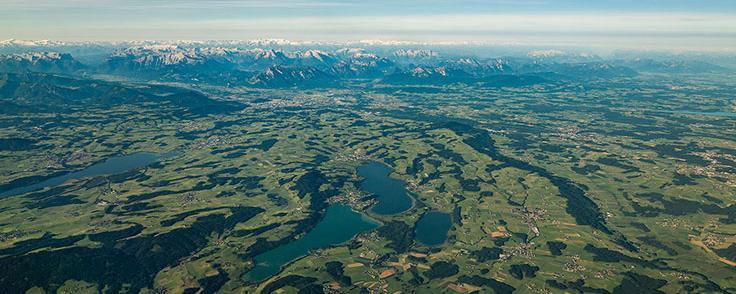 luftaufnahme salzburger alpenvorland