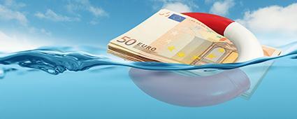 Euro-Banknote mit Rettungsring
