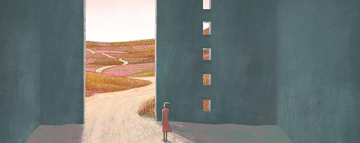 Gemälde von Frau vor einem Tor