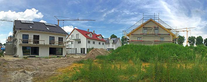 Baustelle von Einfamilienhäusern