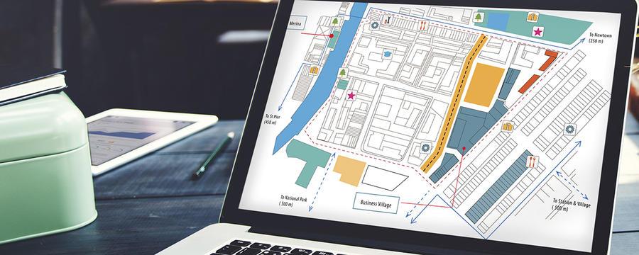 Infrastrukturplan auf Laptop