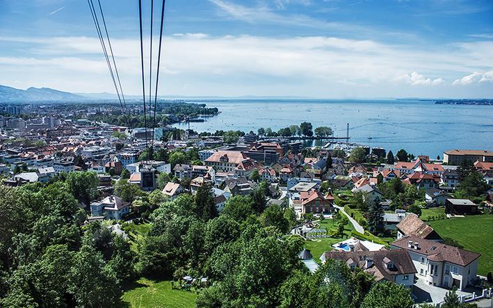Blick vom Pfänder auf Bregenz.