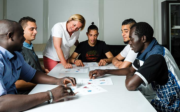 Migranten beim Deutschkurs