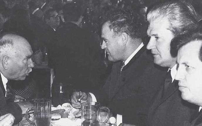 Hermann Laferl, LH Andreas Maurer, Verbandsgeschäftsführer Ernst Brosig und der spätere LH Siegfried Ludwig.