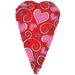 Шар 24'' (60см)  фигура     вытянутое сердце красный