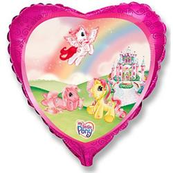 Шар 18'' (45см)  сердце     маленькая лошадка в замке розовый