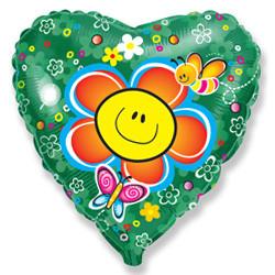 Шар 18'' (45см)  сердце     цветок зеленый