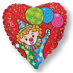 18''(45см) шар   сердце счастливый клоун красный