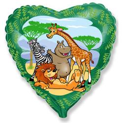 Шар 18'' (45см)  сердце     друзья в джунглях зеленый