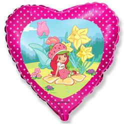 Шар 18'' (45см)  сердце     клубничка в саду розовый