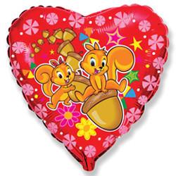 18''(45см) шар   сердце счастливые белки красный
